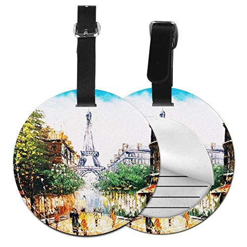 Luggage Tags Famous Oil Street View Paris Suitcase Luggage Tags Business Card Holder Travel Id Bag Tag
