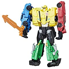 EXPERIENCE THE CLASSIC CONVERSION PLAY OF TRANSFORMERS TOYS: Transformers figures that change from robot to vehicle have captivated kids for generations. These figures are easy to convert in 1-7 steps. 4 FIGURES IN 1 SET: Get an entire ready-for-batt...