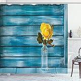 ABAKUHAUS Rose Duschvorhang, Blühende gelbe Rose in Einem Glas, mit 12 Ringe Set Wasserdicht Stielvoll Modern Farbfest & Schimmel Resistent, 175x200 cm, Petrol Blau Gelb Olivgrün