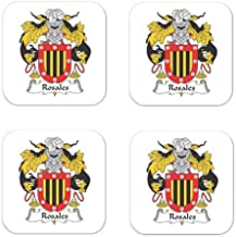 Rosales Family Crest Square Coasters Coat of Arms Coasters - Set of 4
