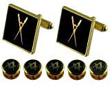 Select Gifts Maestro de Ceremonia Masónica Gemelos de oro 5 Espárragos vestido camisa Box Set