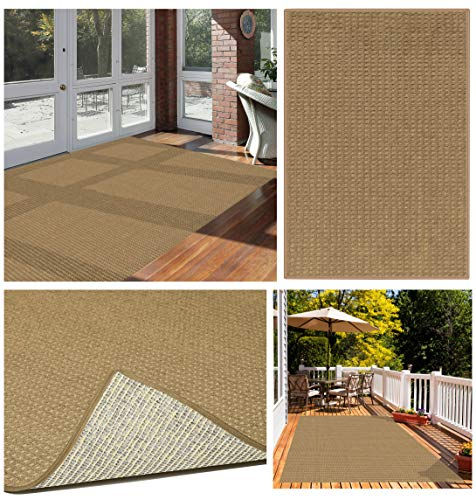 Foundations Waffle Pattern Indoor/Outdoor Area Rugs & Runners. Natural Wool Like Softness ECO-Friendly DuraKnit Pile & Loop Carpet (9' X 12')