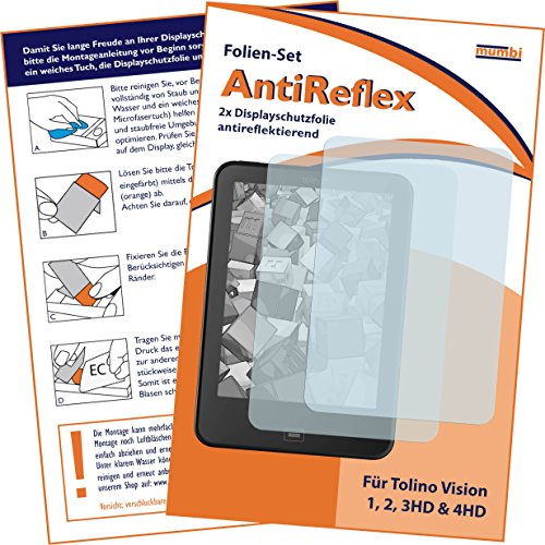 mumbi Schutzfolie kompatibel mit Tolino Vision 1, 2, 3HD, 4HD Folie matt, Displayschutzfolie (2x)
