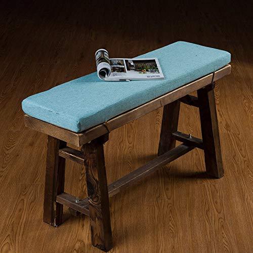 Cojín para banco de jardín, 2, 3 plazas, 4 cm de grosor, suave, asiento de madera, cojín de repuesto, para asiento de viaje, para interiores y exteriores, lavable, azul, 87 x 28 x 4 cm