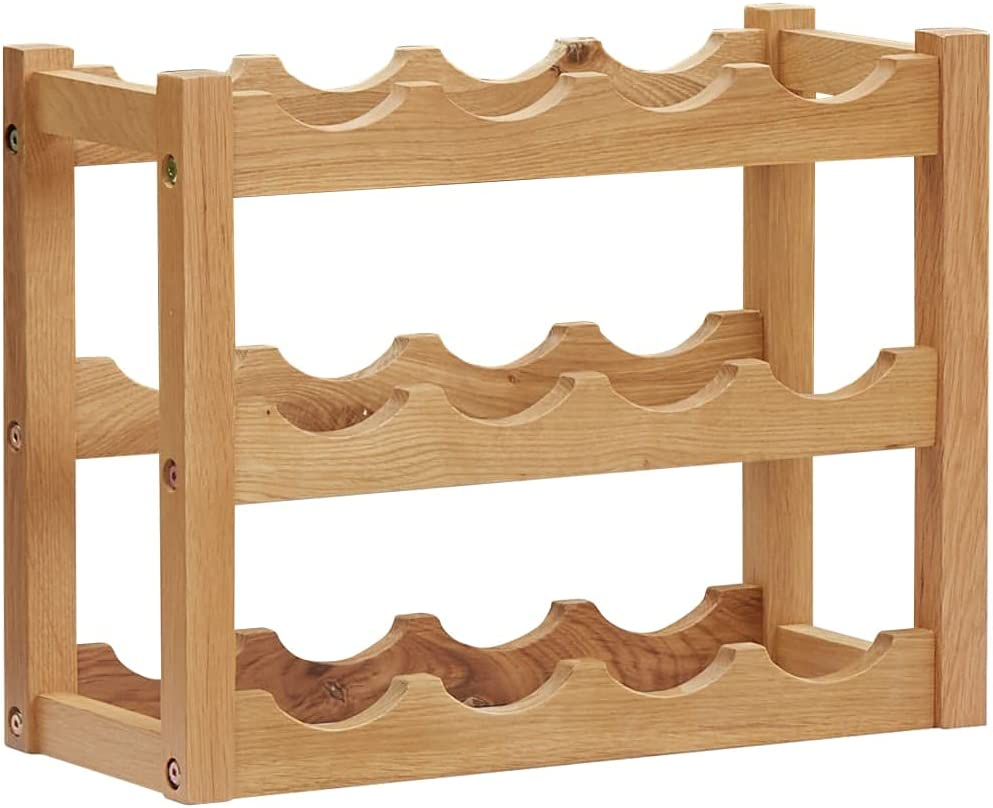 Famehours Max Challenge the lowest price 62% OFF Wine Rack for 12 Wo Oak Solid 18.5