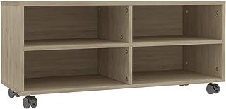 Bulufree Mueble de TV con Ruedas Mesa de televisión gabinete de TV Tablero aglomerado Roble Sonoma 90 × 35 × 35 cm