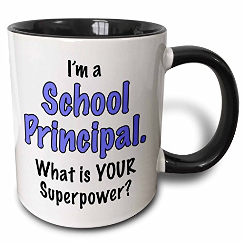 3dRose I'm A School Principal What Is Your Superpower Blue Two Tone Mug, 11 oz, Multicolor