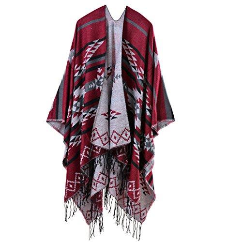 Bestja Damen Herbst/Winter Poncho mit Quaste, 130 * 150CM Poncho-Schal Überwurf Cape Umhang Wendeponcho für Frau, 50-2,