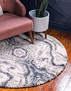 Unique Loom Hygge Shag Collection Abstract Solid Plush Cozy Gray Round Rug (5' x 5') (B07GFPZM4K) | Amazon price tracker / tracking, Amazon price history charts, Amazon price watches, Amazon price drop alerts