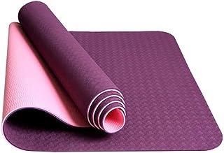 Flyme Yoga Mat Portable Anti-Slip Exercise Mat Fitness Pilates Camping 183x61x0.6cm (Dark Purple and Light Pink)