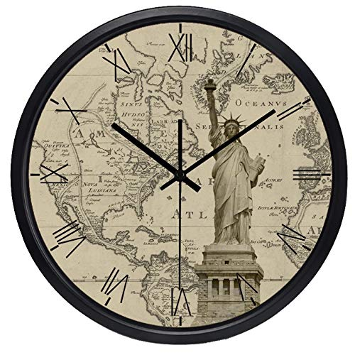 CAICAI Wall Clock The World Time Hotel Lobby Clock Roma World Places of Interest Map Clock Quiet Battery Operated Silent Non-Ticking for Home Office School Bedroom Decor Gift Ideas