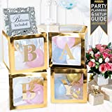 Baby Shower Decorations & Gender Reveal Party Supplies - 52 Piece Premium Gold