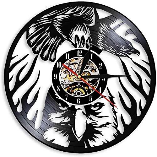 Reloj de pared de vinilo – Reloj de vinilo para amantes de hombres, mujeres, adolescentes y niños, regalos únicos, decoración de pared, obras de arte negro, reloj de 12 pulgadas (animal de águila)