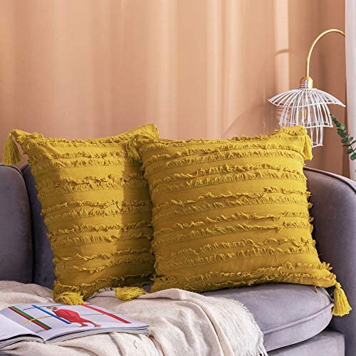 Longhui bedding Decorative Cotton Linen Yellow Throw Pillow Covers with Tassels Fringe 22x22 product image