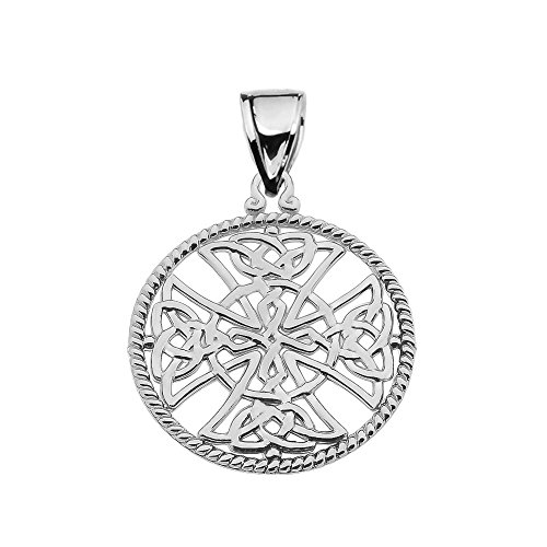 Religious Jewelry by FDJ Sterling Silver Trinity Knot Celtic Cross Round Rope Design Frame Pendant