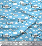 Soimoi Blau Baumwoll-Popeline Stoff Wolken & Flugzeug
