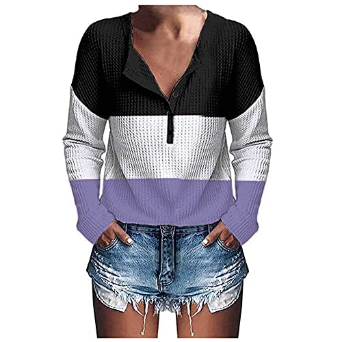 Sweatshirt for Women Trendy Color Block Sexy V Neck Pullover Tops Casual Loose Fit Vintage Button Long Sleeve Blouses Purple