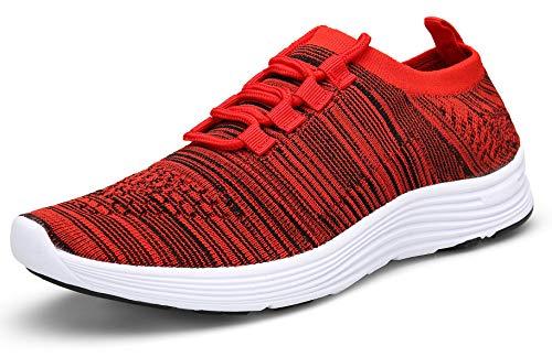 KOUDYEN Turnschuhe Laufschuhe Atmungsaktiv Leichte Sportschuhe Mesh Fitness Sneaker für Herren Damen XZ818-red-41EU