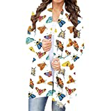 Thatso Women Christmas Cardigan Coat, Ladies Leopard Printed Long Sleeves Loose Flowy Open Front Tunic Cardigans Outwear (S,White)