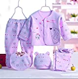 Fancy Walas Presents New Born Baby Summer Wear Baby Clothes 5Pcs Sets 100% Cotton Baby Boys Girls Unisex Baby Cotton/Summer Suit Infant Clothes First Gift for New Born Baby (Purple, 0-6 Months)