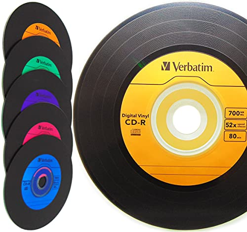 Verbatim Digital Vinyl CD-R 80min/700MB CD Rohlinge Bunt mit Schwarze Vinyl Optik Schallplatten Retro-Look - 10er Spindeln