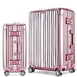 Langxj hj スーツケース キャリーバッグ100%PCポリカーボネート ダブルキャスター 二年安心保証 機内持込 アルミフレーム人気色 超軽量 TSAローク1520 (S, ピンク)