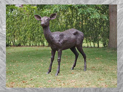 IDYL Escultura de bronce REH   117 x 30 x 124 cm   Figura animal de bronce hecha a mano   Escultura de jardín o decoración   Artesanía de alta calidad   Resistente a la intemperie