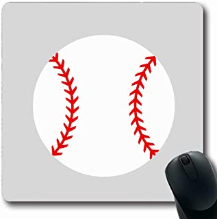 Ahawoso Mousepads for Computers Player Red Simple Baseball Ball Softball Curve Flat Equipment Outline Activity American Design Oblong Shape 7.9 x 9.5 Inches Non-Slip Oblong Gaming Mouse Pad