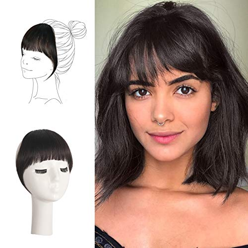 FESHFEN Clip in Bangs 100% Human Hair Extension Curved Bangs French Bangs Fringe Darkest Brown Hair Pieces Clip on Natural Flat Neat Bangs with Temples One Piece Hairpiece Extension for Women Girls