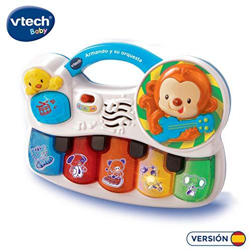VTech- Armando y su Orquesta Piano Interactivo para Aprender los Instrumentos, los Animales y Sus Sonidos, Color Blanco, 27.4 x 21.6 x 7.9 (3480-150822)