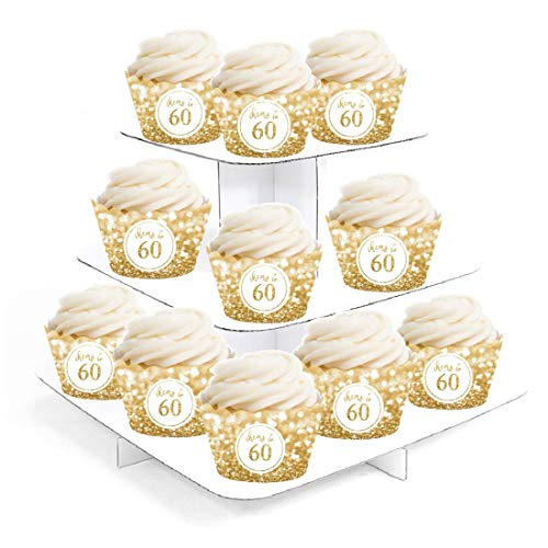 Andaz Press Glitzy Faux Gold Glitter Cupcake Wrapper Decorations, Cheers to 60 Years, 60th Birthday or Anniversary, 24-Pack, Not Real Glitter