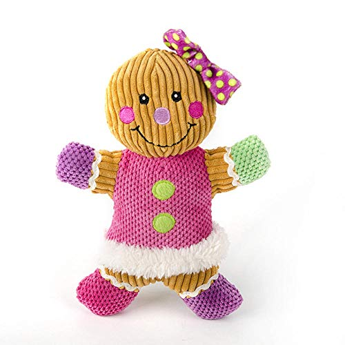 Hundespielzeug,Welpen Zahnen Spielzeug,Unzerstörbar Kauspielzeug für Kleine und Mittel Hunde -Rosa Lebkuchenmann