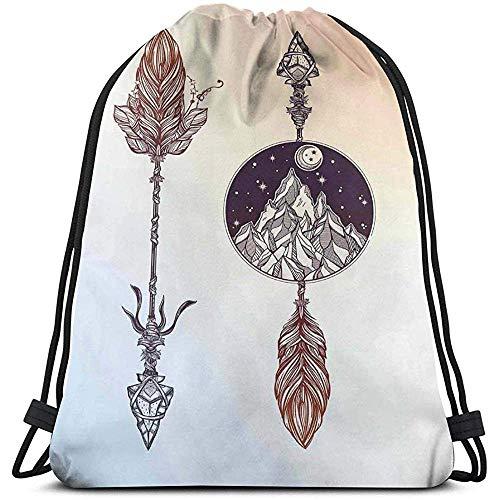 Mei-shop Kordelzug Rucksack Unisex BagNative amerikanische Boho-Elemente mit Feder und r-ocky Bergpfeil ethnisches Design