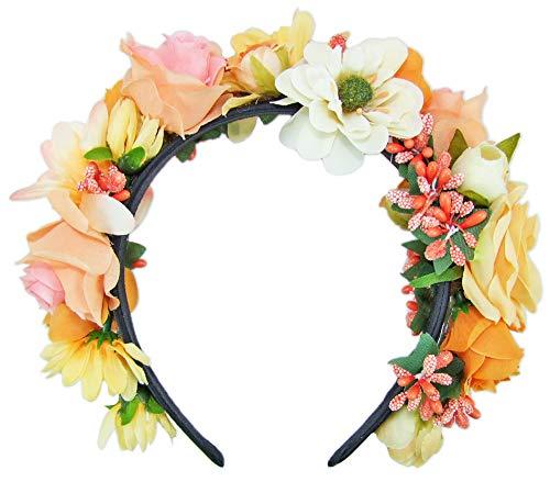 Trachtenland Hochwertiger Blumen Haarreif Blumenwiese - Zauberhafter Haarschmuck zum Dirndl, für Hochzeiten oder Festivals - Apricot