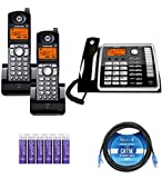 Motorola ML25260 2-Line Corded Phone with Digital Answering System Bundle with 2-Pack of ML25055 DECT 6.0 Cordless Handsets, Blucoil 10-FT 1 Gbps Cat5e Cable, and 6 AAA Batteries
