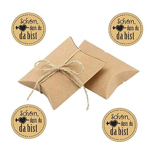 Anyasen 100 Stücke faltschachteln papierschachtel kleine Schachteln Geschenkbox klein Geschenkschachtel Kraftpapier Gastgeschenk Hochzeit Klein Geschenkboxen mit Aufkleber Sticker und Juteschnur