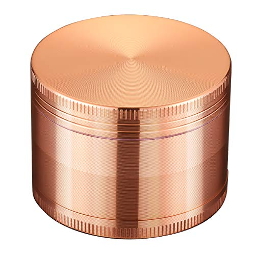 LIHAO 2 inch 4 Piece Spice Herb Grinder, Grinder For Herbs & Spices, Magnet Lid & 4 Pieces 3 Parts Designs, With A Pollen Catcher - Rose Gold