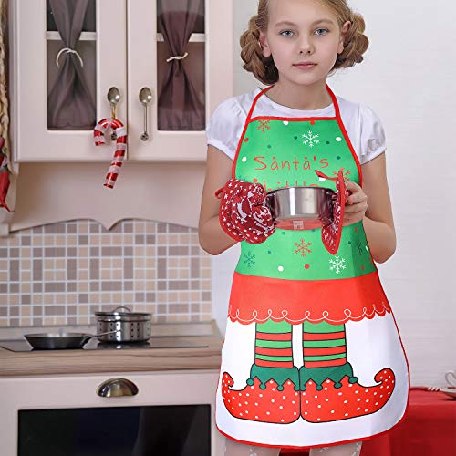 4 Pieces Christmas Aprons Funny Cartoon Apron Adjustable Kitchen Cookie Apron for Xmas Party, 4 Styles