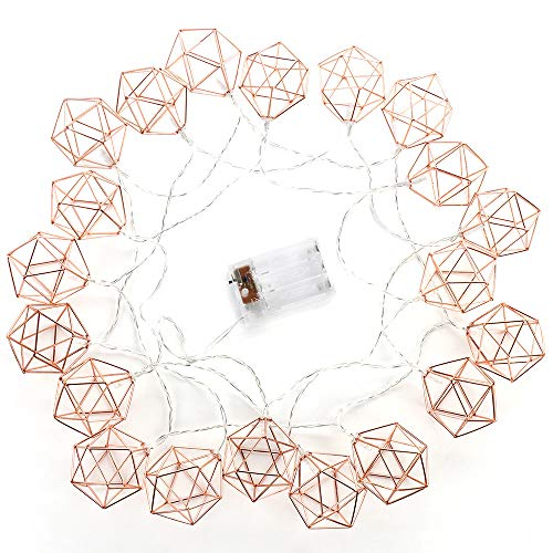 JYCRA Geometrische Metall-Lichterkette, minimalistisch, dekorative Lichterkette für Wohnzimmer, Party, Hochzeit, Garten (batteriebetrieben), rosegold 3M/9.8FT rose gold