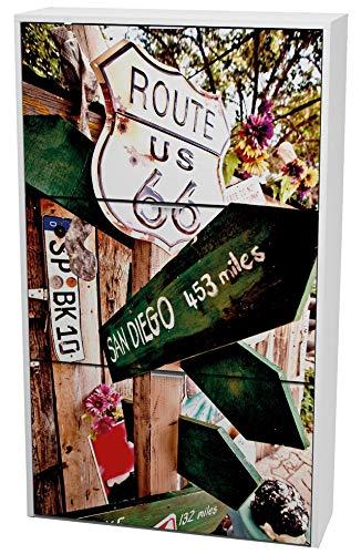 Miroytengo Zapatero 3 Puertas Route 66 con Impresión Color Blanco Pasillo Entrada Recibidor Moderno 117x60x24 Cm