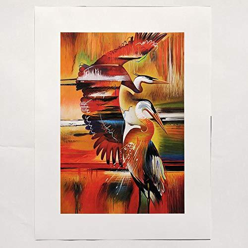 No Brand muur kunstdruk op canvas, motief vogelhuisjes, dierenschilderij, afbeelding voor woonkamer decoratie thuis, 40 x 60 cm, geen lijst