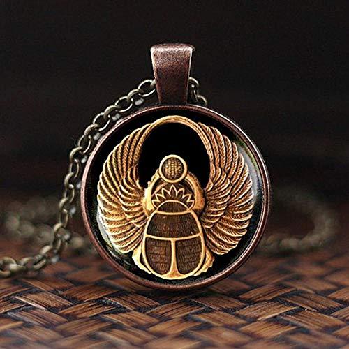 JIUJINSymbol der Stärke ägyptischen Skarabäus Glaskuppel Anhänger Halskette altes Auge des Horus Ägypten Schmuck Mode Mode Charme Frauen Geschenk-6