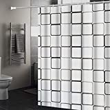 Huahuanghui Duschvorhang, 120 * 200 Anti-Schimmel Badevorhang, Wasserdichter Badezimmervorhang,Duschvorhang 3D Wasserwürfel,Duschvorhang mit 10 STK Vorhanghaken, Waschbar Anti-Bakteriell Duschvorhang