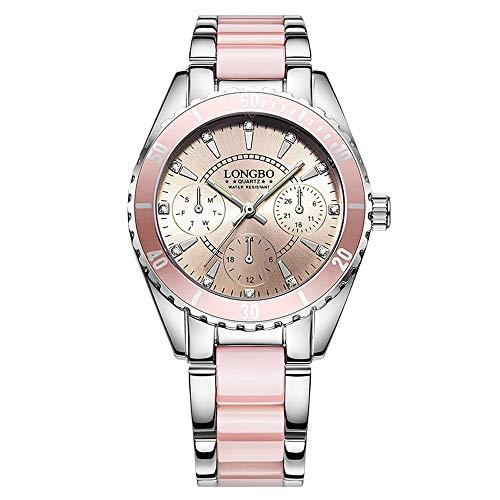 Watch Longbo Brand Fashion Watch Ladies Luxury Cerámica Aleación Correa Impermeable Nylon Reloj de Pulsera