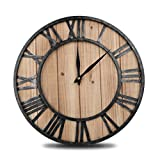 HOME GURUS Decorative Modern Large Wall Clock Non Ticking - Wood (16 Inches)