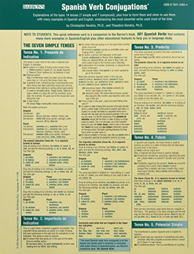 Spanish Verbs Conjugation Card (Barron's Verb)