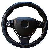 ZATOOTO ハンドルカバー 軽自動車 Sサイズ 本革 高級感 手触りよし 厚め クラウン フィット BMWなど用ステアリングカバー ブルー LY98-HL