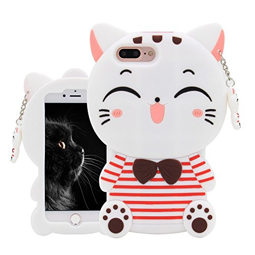 Joyleop White Cat Case Compatible with iPhone 5 5C 5S SE,Cute 3D Cartoon Animal Cover,Kids Girls Fun Soft Silicone Rubber Kawaii Character Unique Cases,Fashion Shockproof Skin Protector for iPhone5
