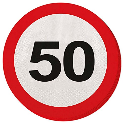 50th birthday napkins traffic sign 33 x 33 cm decorative disposable party tableware road sign Party napkins single-use dinnerware anniversary deco jubilee dishware jubilee articles Disposable napkins