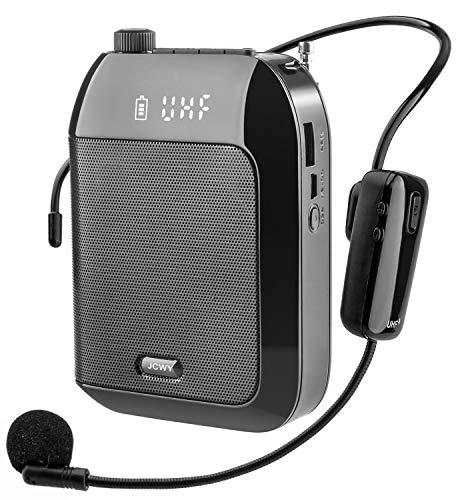 JCWY Amplificador de Voz Inalámbrico UHF, Sistema de Megafonía Portátil Recargable de...